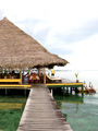 Thatched restaurant on the Bocas ocean.
