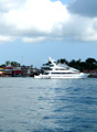 Bocas Town and yacht, from the ocean.