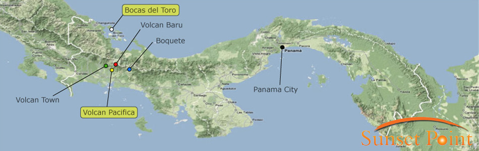 Panama Map: real estate locations.
